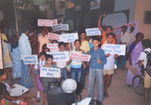 School children's rally against gender based violence, Bangalore, Karnataka